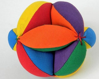 Montessori Preschool Toy, Learn Your Colors, Baby Clutch Grab Ball, Unisex Learning Toy, Sensory Ball, Baby Shower Gift, Handmade Gifts Toys