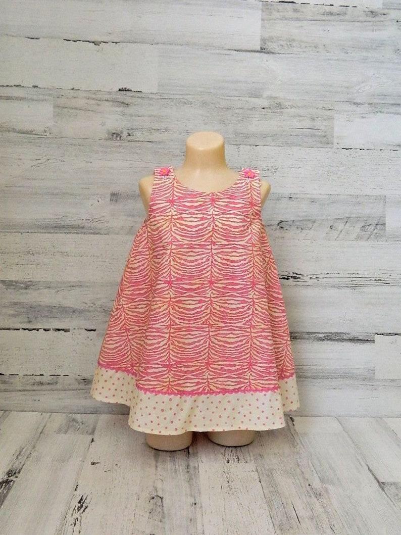 66db1e9ffa4f5 Toddler Girls Pink Zebra Print Dress, A Line Style Dress, Boutique Girls  Clothing, Handmade Girls Sleeveless Dress, Kids Summer Play Wear