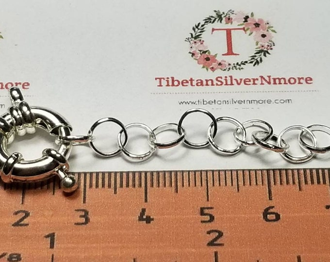 "2 pairs per pack 16mm round clasp with 2"" Extension round Chain Copper base metal Silver plated."
