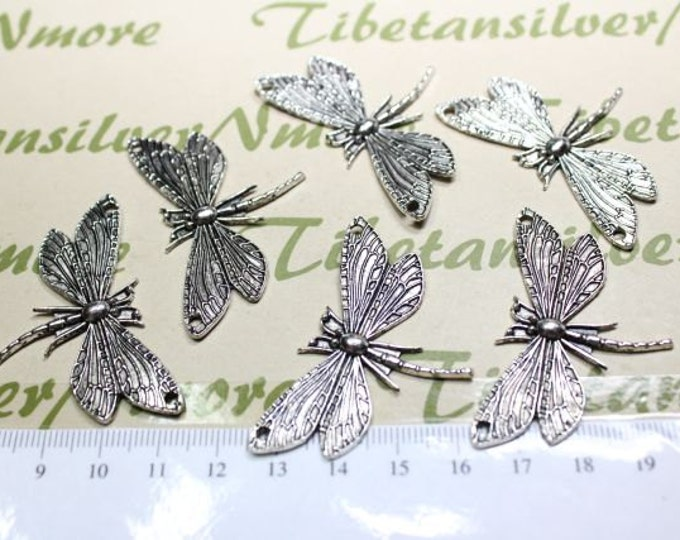 6 pcs per pack 50x30mm Medium Festoon Dragonfly Link Antique Silver Finish Lead free Pewter