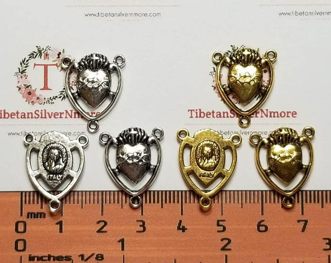 12 pcs per pack 20x15mm Heart shape Cut out Mother Mary Rosary Center Antique Silver or Gold Lead free Pewter