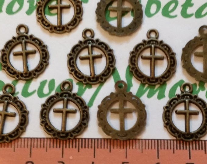 24 pcs per pack of 16mm Small Cut out Cross Coin Charm Antique Bronze or Silver Lead free Pewter