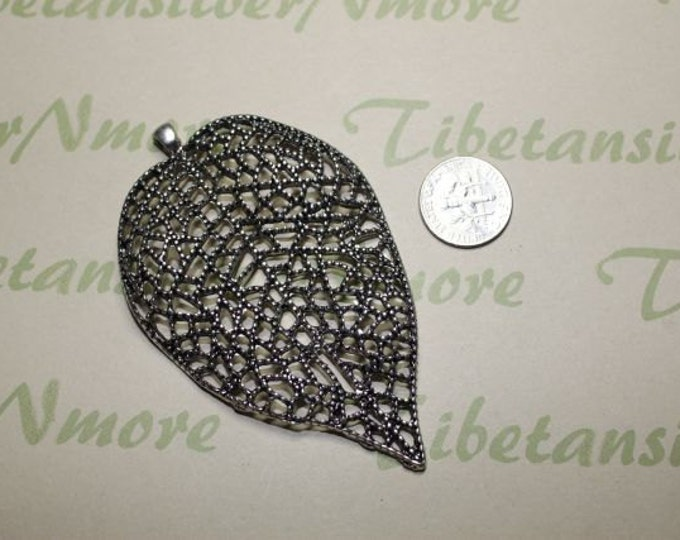 2 pcs  - 81x50mm Large Filigree Leaves Antique Silver Finish Lead Free Pewter