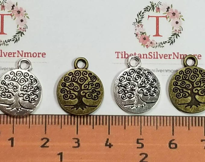 10 pcs per pack 15mm curly Tree of Life Coin Charms Antique Silver or Bronze Lead free Pewter.