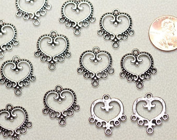 14 pcs per pack of 24mm Chandelier Filigree Earring Component Antique Silver Finish Lead free Pewter