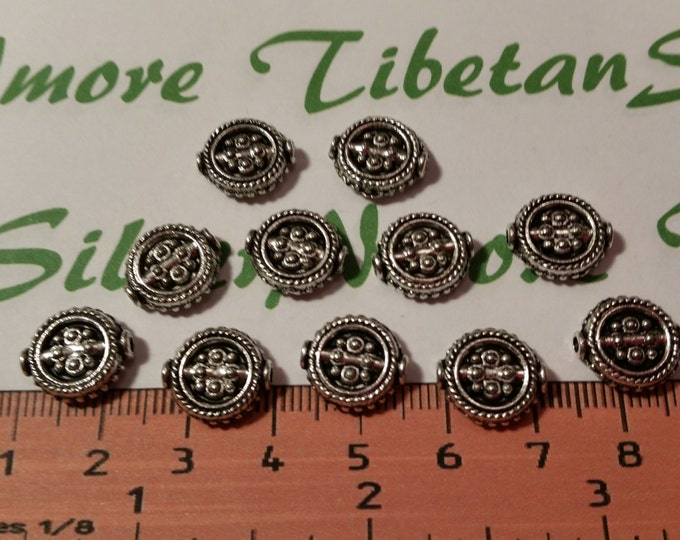 12 pcs per pack 16mm Reversible Flat textured Beads in Antique Silver