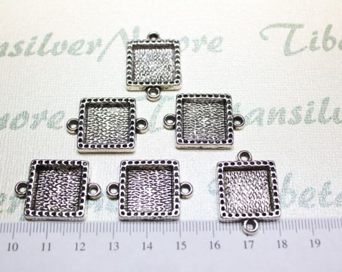 6 pcs per pack 18mm Square Filler Link Antique Silver Finish Lead Free Pewter