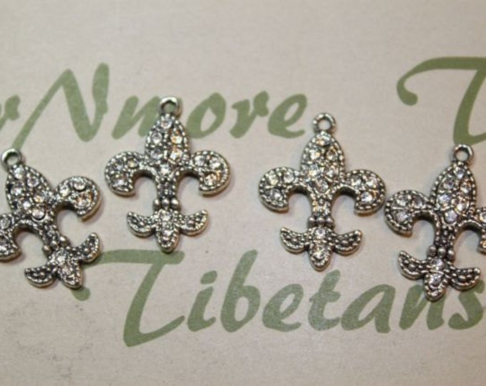 6 pcs per pack 20x18mm with 3mm loop Clear Rhinestone Fleur de Lis Charms in antique Silver lead free Pewter