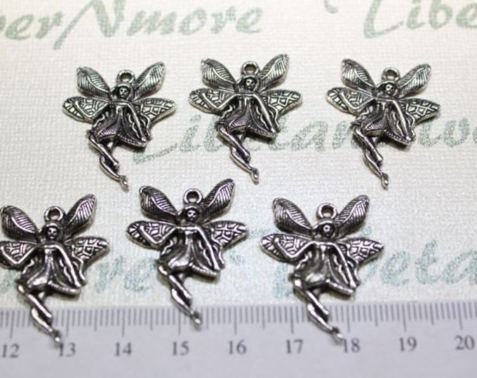 10 pcs per pack 24mm Fairy Charms Antique Silver Lead free Pewter.