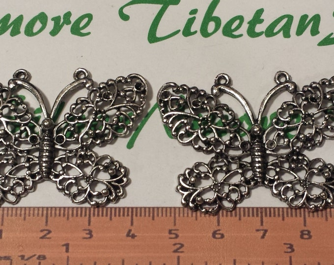 2 pcs a pack 47x35mm Filigree Butterfly Pendant Antique Silver Finish Lead free Pewter