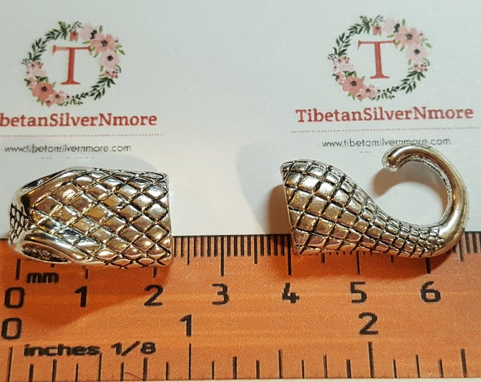 2 pairs per pack 24x14mm each 11x5mm opening 10mm depth Snake Head and Tail glue in hook clasp Silver Finish Lead Free Pewter