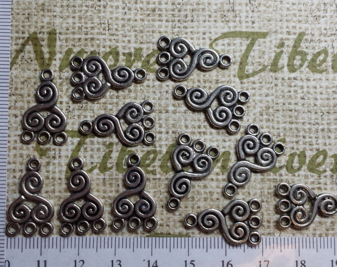 20 pcs per pack 21x12mm Reversible Chandelier Double Swirls Earring Component Antique Silver Finish Lead free Pewter