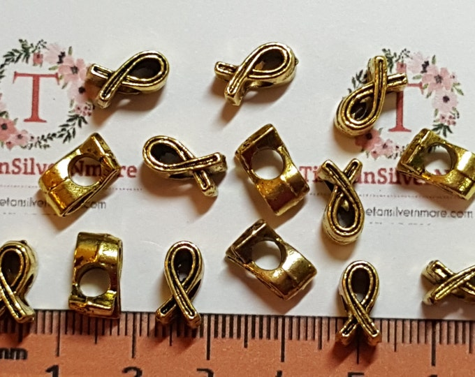 20 pcs per pack 16x6mm 4mm hole Reversible Breast Cancer Awareness Large hole Bead in Antique Gold Lead Free Pewter