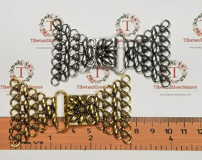 1 pair per pack 74x45mm 7 strands Clasp Filigree Antique Silver or Gold Finish Lead Free Pewter