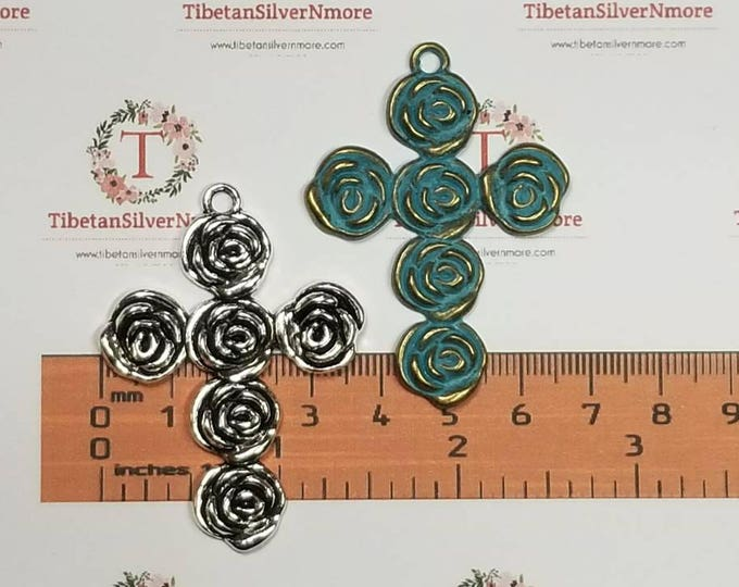3 pcs per pack 54x36mm Roses Large Cross Pendant Antique Silver or Patina Bronze Finish Lead Free Pewter