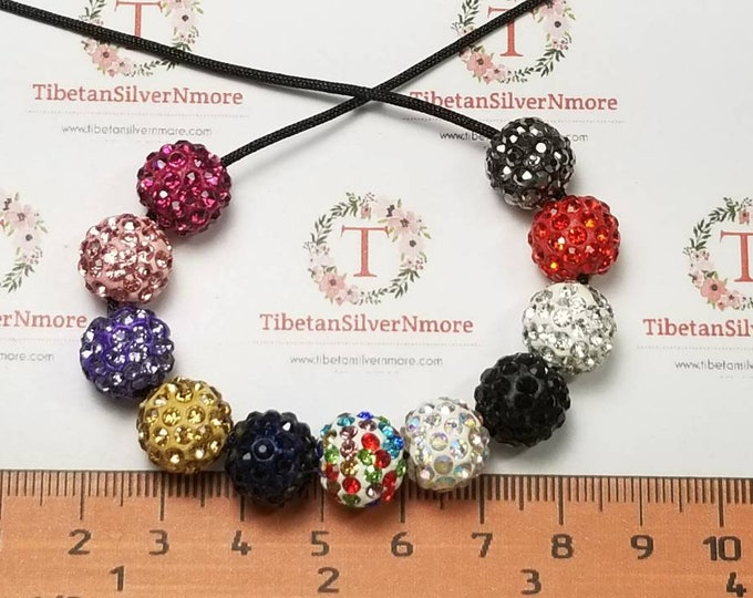 10 pcs per pack in color to choose 12mm 1.5mm hole Polymer Clay Shambala Round beads with 1.5mm flat back Crystal.