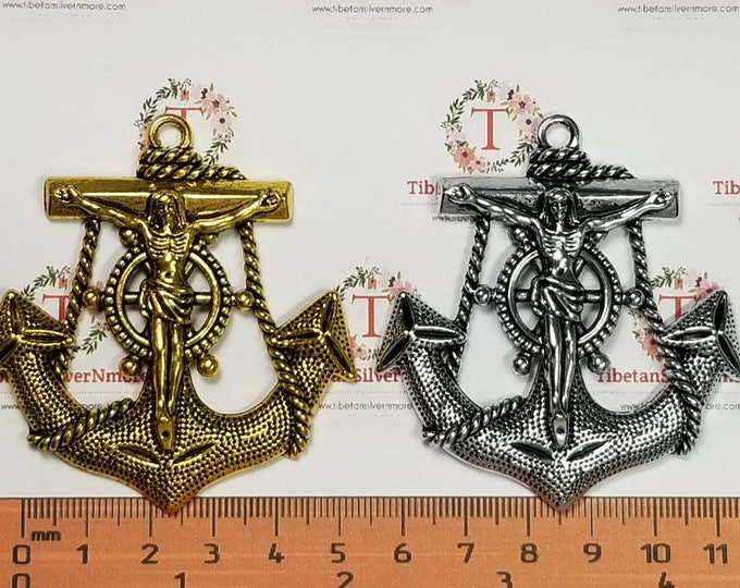 2 pcs per pack 63x59mm Large Jesus Cross Anchor Pendant Antique Silver or Gold Finish Lead Free Pewter