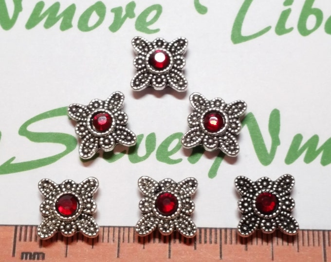 10 pcs per pack 11mm Red Rhinestone Double strands Spacer Bar Antique Silver Lead Free Pewter