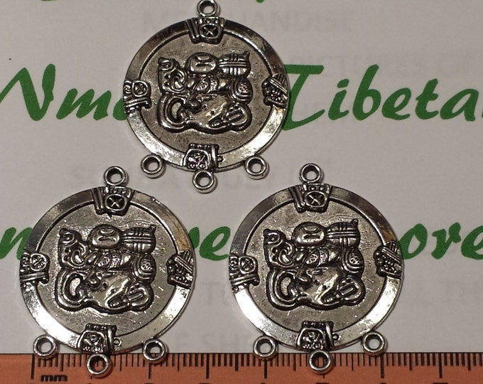 3 pcs per pack 42x34mm Solids Chandelier Mayan Glyph Large Pendant Antique Silver Finish Lead Free Pewter