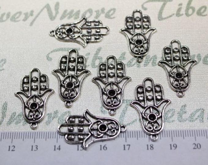 12 pcs per pack 30x18mm Hamsa Hand of Fatima Charm in Antique Silver