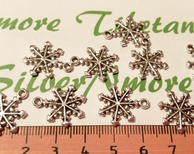 16 pcs per pack 19mm Snowflake Charm Antique Silver Finish Lead Free Pewter