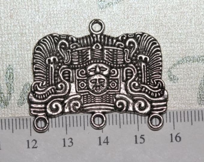 4 pcs per pack of 39x30mm Mayan Glyph Large Solid Chandelier Antique Silver Finish Lead Free Pewter