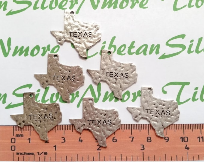 10 pcs per pack 30x28mm Medium Hammered Texas State Antique Silver Finish Lead Free Pewter