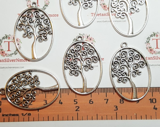 6 pcs per pack 39x26mm Cut out Oval Tree of Life Charms Antique Silver Lead free Pewter.