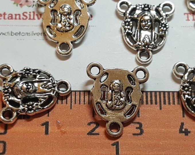12 pcs per pack 15x11mm Mother Mary Rosary Center Antique Silver Lead free Pewter