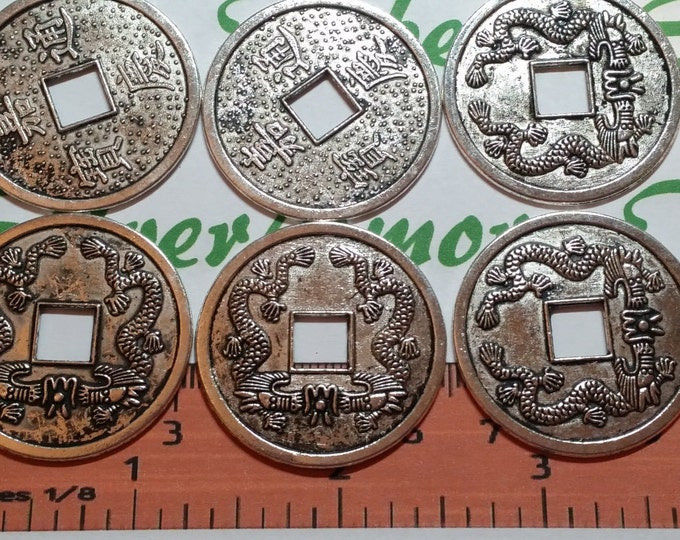 6 pcs per pack 32mm Chinese Lucky Coin Charm Antique Silver Finish Lead Free Pewter