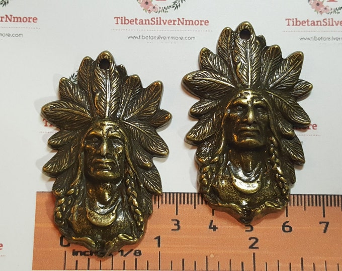 2 pcs a pack 58x37mm Native American Chief Head Pendant Antique Bronze Finish Lead Free Pewter