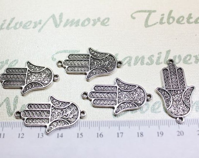 8 pcs per pack 34x20mm Print Textured Hand of Fatima or Hamsa Link Antique Silver Finish Lead Free Pewter
