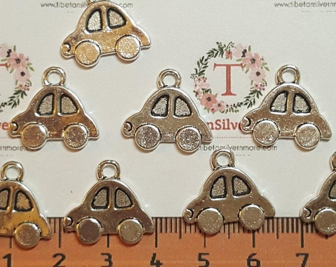 8 pcs per pack 19x16mm One side Beetle VW car Antique Silver Finish Lead free Pewter