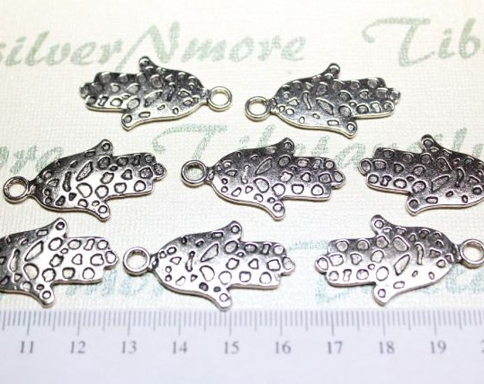 12 pcs per pack 35x18mm Hamsa Hand of Fatima Charm in Antique Silver