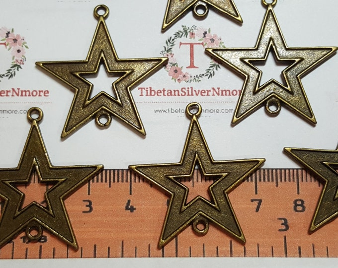 8 pcs per pack 36x33mm Cut out Star Link Antique Bronze Finish Lead Free Pewter
