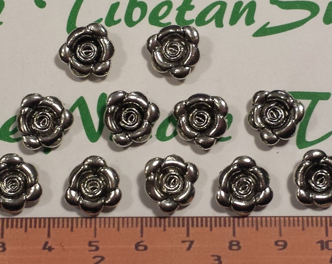 10 pcs per pack 13mm 2mm loop in the back Rose Flower Charms Antique Silver Lead free Pewter