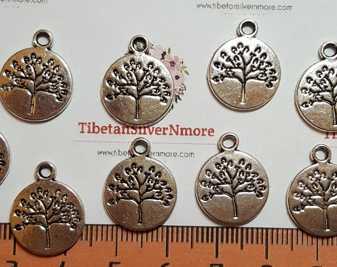 12 pcs per pack 15mm Tree of Life Coin Charms Antique Silver Lead free Pewter.