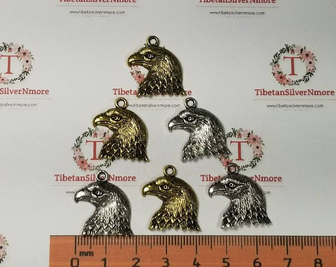 14 pieces a pack of 18mm Bold Eagle Side Head Charm Antique Silver or Gold Finish Lead Free Pewter