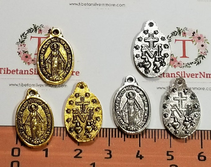 10 pcs per pack 20x12mm Miraculous Charm Antique Gold or Silver Lead free Pewter