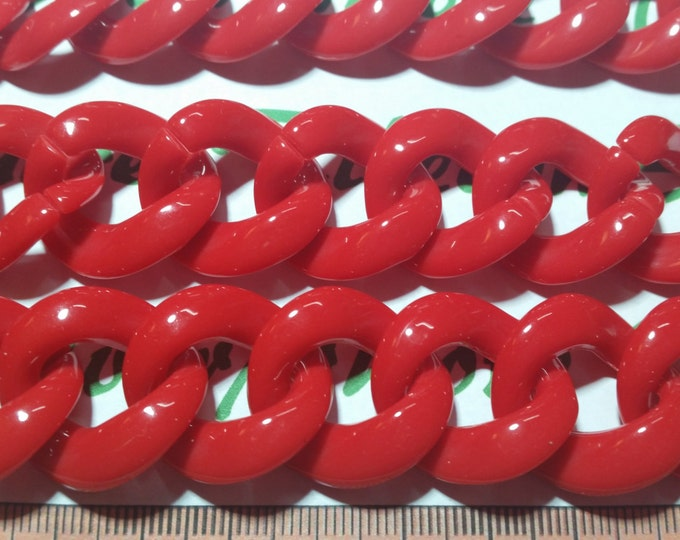 2 ft. or 24 inches 33x30mm 3mm thickness Red Curb Acrylic Chain