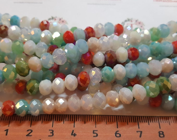 1 strand of 16 inches of 8x6mm Faceted Rondelle Opaque Summer Multicolor Chinese Crystal.