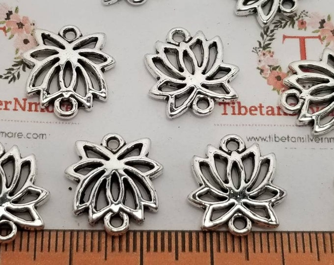 12 pcs per pack 16x15mm 2mm thickness cutout solid Lotus Blossom link Antique Silver Finish Lead free Pewter