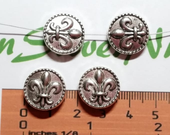 4 pcs per pack 16mm 4mm thickness heavier Fleur de Lis Coin top to the bottom drilled Antique Silver Finish Lead Free Pewter