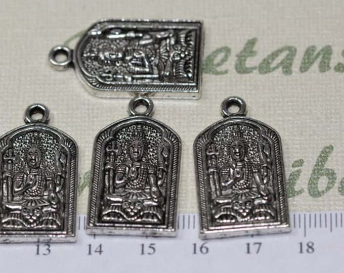 4 pcs per pack 30x18mm Medium size Hindu Gods Shiva Mahesvara With Aum in the back Charms in Antique Silver lead free Pewter.