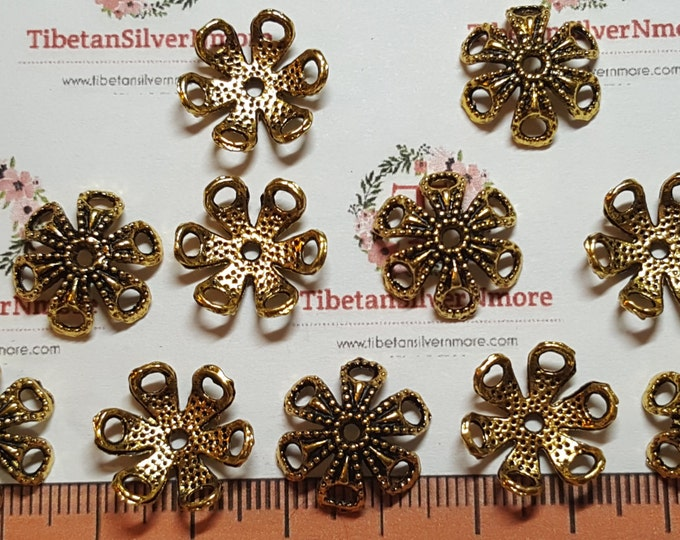 20 pcs per pack 16mm opening 4mm depth Flower Bead Cap Antique Gold Finish Lead Free Pewter.