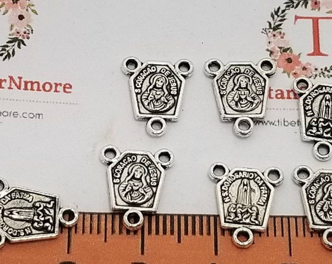 24 pcs per pack 12x10mm Hexagon Jesus and Lady Guadalupe Rosary Center Antique Silver Lead free Pewter