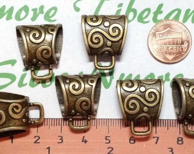 4 pcs 19x17x8mm Medium swirl 14x5mm inner size Solid Bail Antique Bronze lead free Pewter.