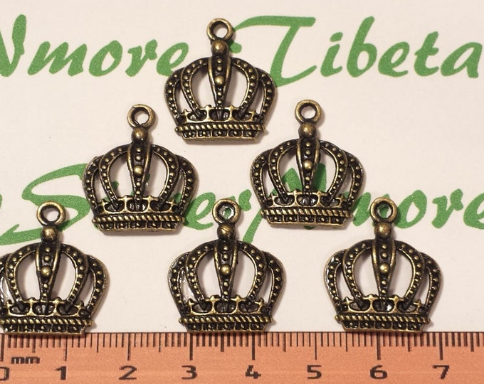 12 pcs per pack 22x20mm Medium Crown Charms Antique Bronze Finish Lead Free Pewter