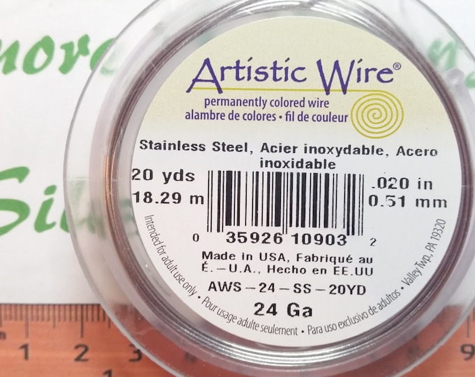 1 spool or 20 yards of Artistic Wire 24 gauge Silver color Stainless Steel Round wire.