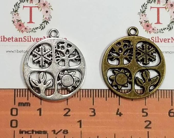 6 pcs per pack 25mm Four Season Coin Charm in Antique Silver or Bronze Lead free Pewter.